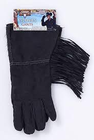 Cowboy Gloves Black W/ Fringe 12