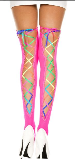 Laced Rainbow Thigh Highs 5
