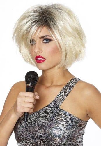 80's Diva Blonde w/ Black Deluxe Wig 1
