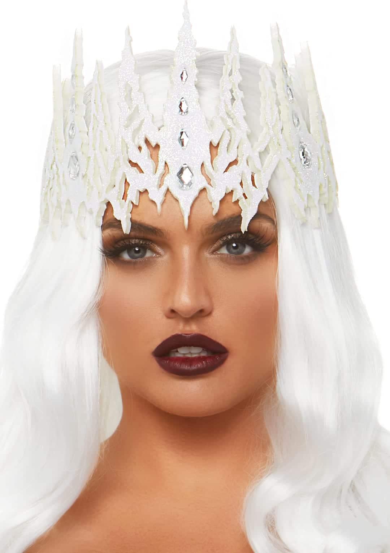 White Glitter Die Cut Jeweled Crown 10