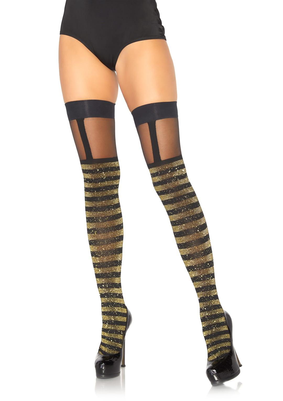 Lurex Opaque Striped Thigh Highs Black/Gold 4