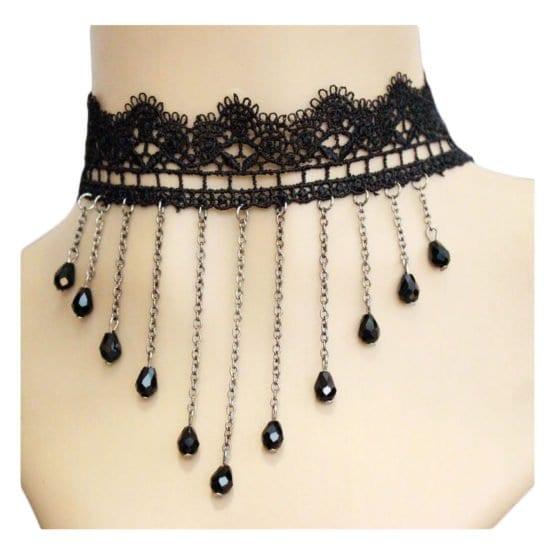 Black Lace Choker w/ Chain Strands 2