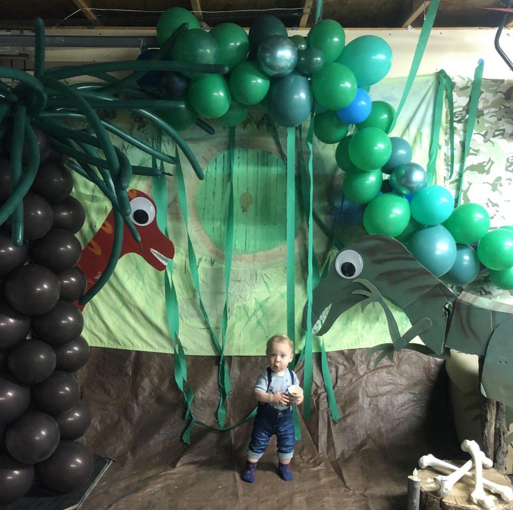 Dinosaur themed photo booth.