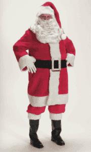 red professional plush santa suit rental size extra large