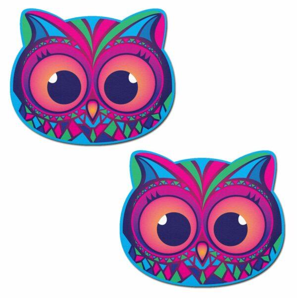 Tribal Multi-Color Trippy Owl Nipple Pasties 1