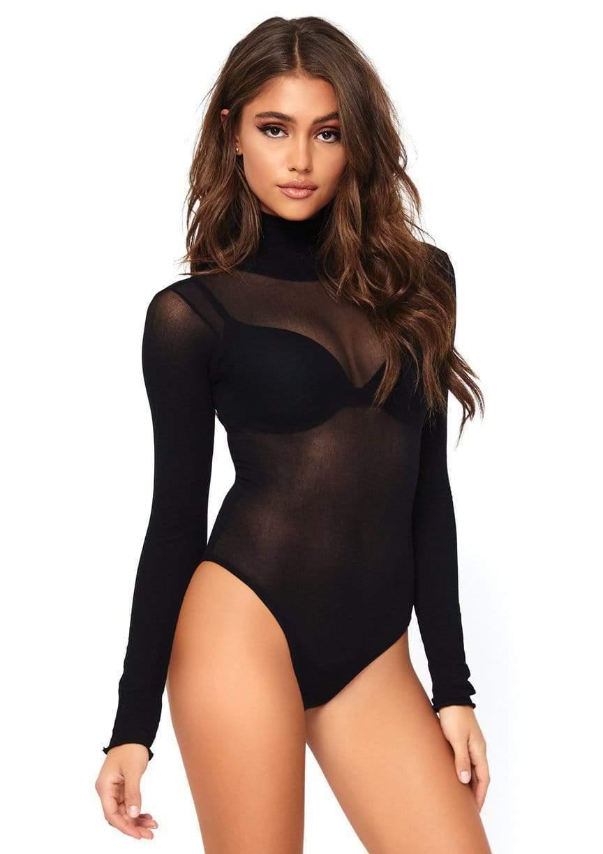 Opaque High Neck Long Sleeved Bodysuit 10