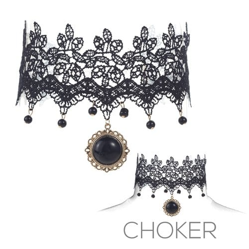 Victorian Lace Choker with Black Pendant 8