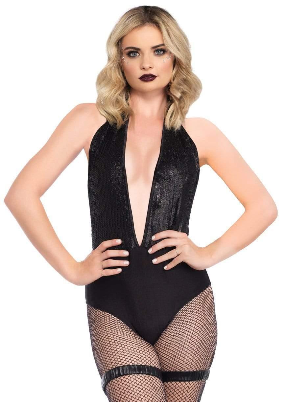 Shimmer Sequin Plunging Halter Bodysuit 8