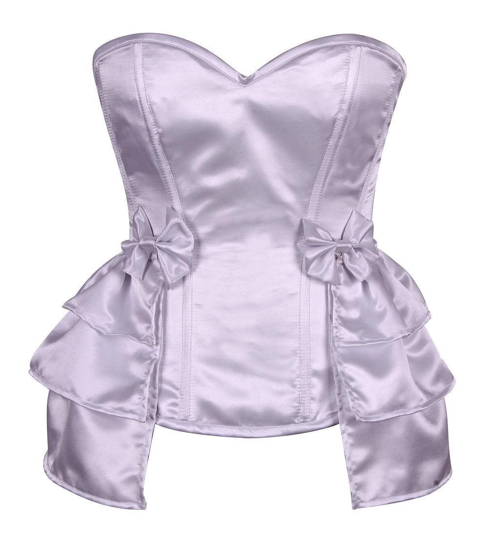 Lavish Plus Size White Satin Corset w/Removable Snap on Skirt 7