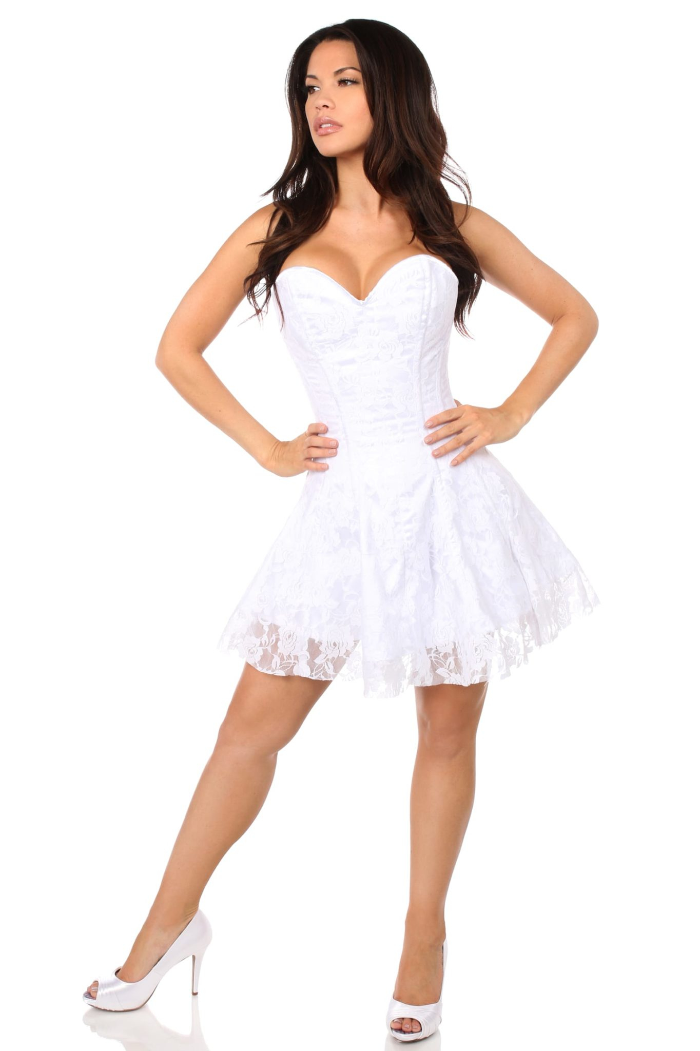 Lavish White Lace Corset Dress 6