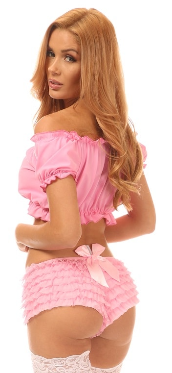 Pink Lycra Lace-Up Peasant Top 9