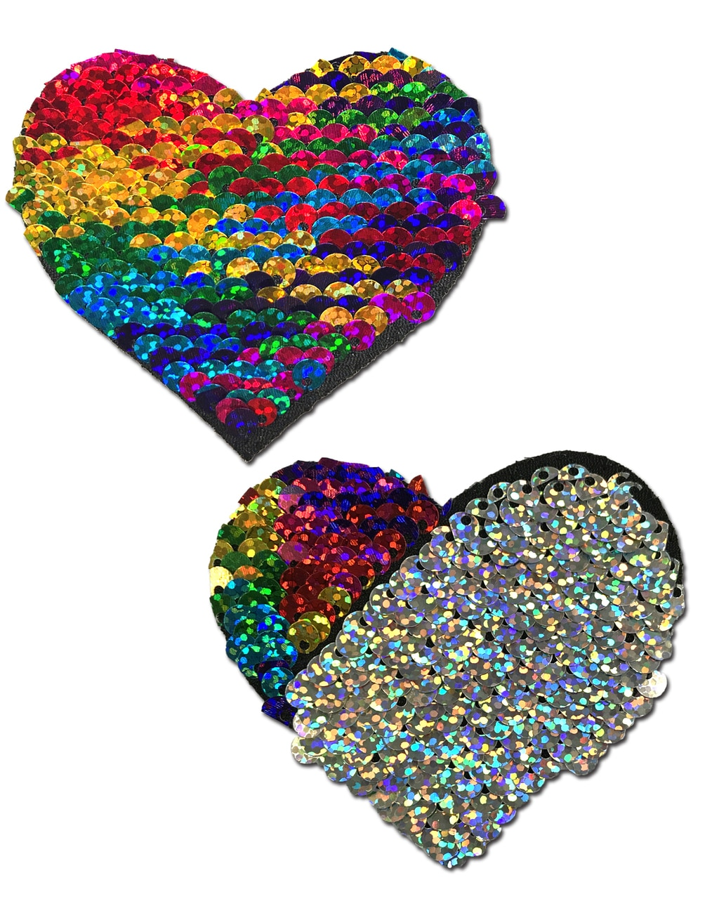 Love: Rainbow & Silver Glitter Color Changing Sequin Heart Nipple Pasties 6